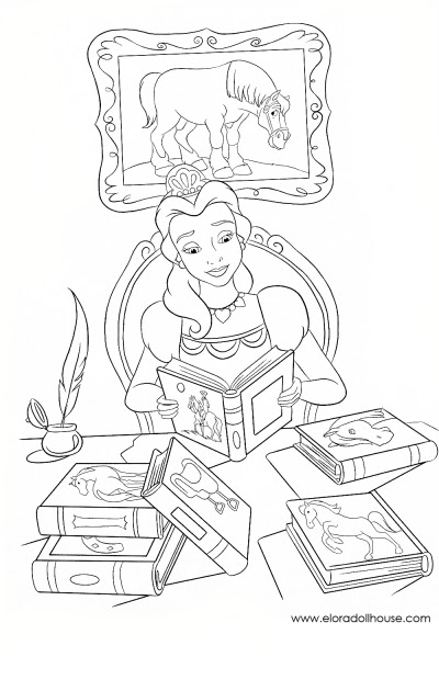 free disney princess belle and her horse philippe coloring