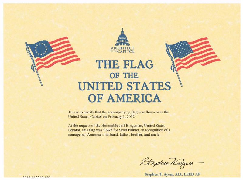 Flag Flown Certificate Template Free Download