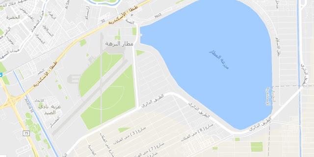 خريطة مطار النزهة الدولي بالإسكندرية Alexandria El Nozha Airport Map