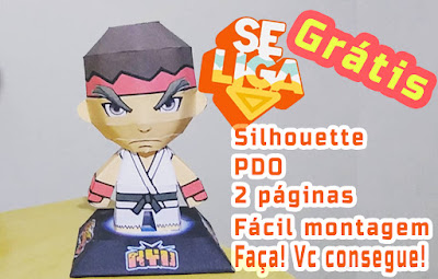 ryu street fighter papercraft chibi