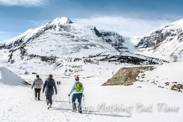 Hiking toward the ice cave at Athabasca Glacier.