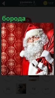 Дед Мороз и его борода, мешок с игрушками за плечами
