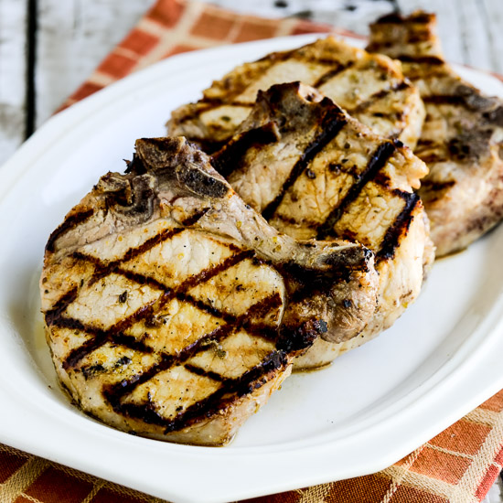 Low-Carb Greek-Seasoned Grilled Pork Chops with Lemon and Oregano found on KalynsKitchen.com