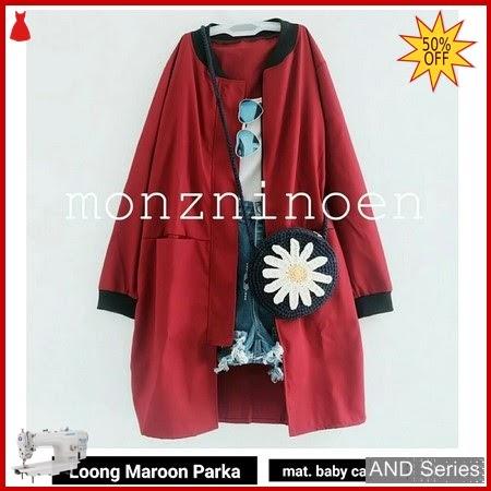 AND255 Jaket Wanita Jaket Loong Merah Maroon BMGShop