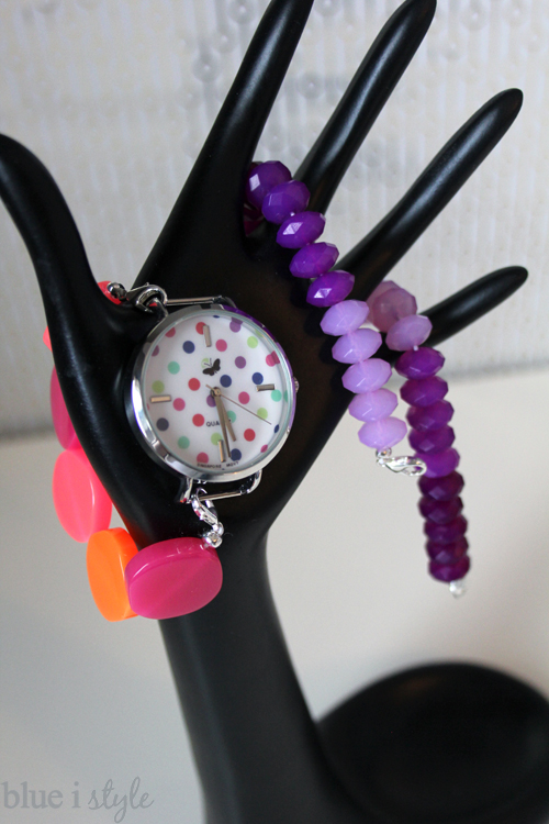 Polka dotted watch with beaded watch bands
