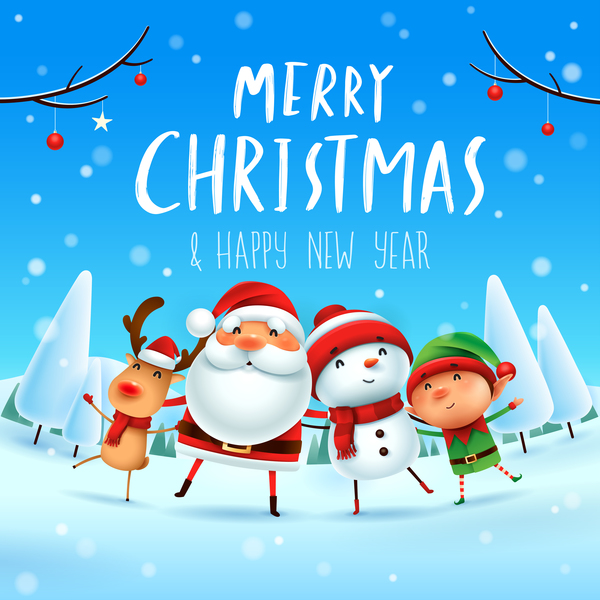merry christmas happy new year santa friends with christmas card free vector