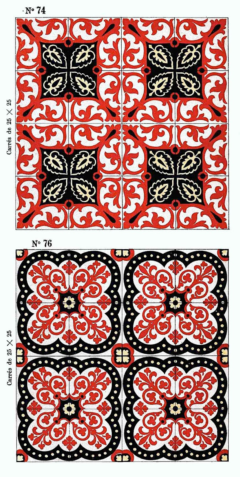 a color image of 1890 floor tiles in red and white