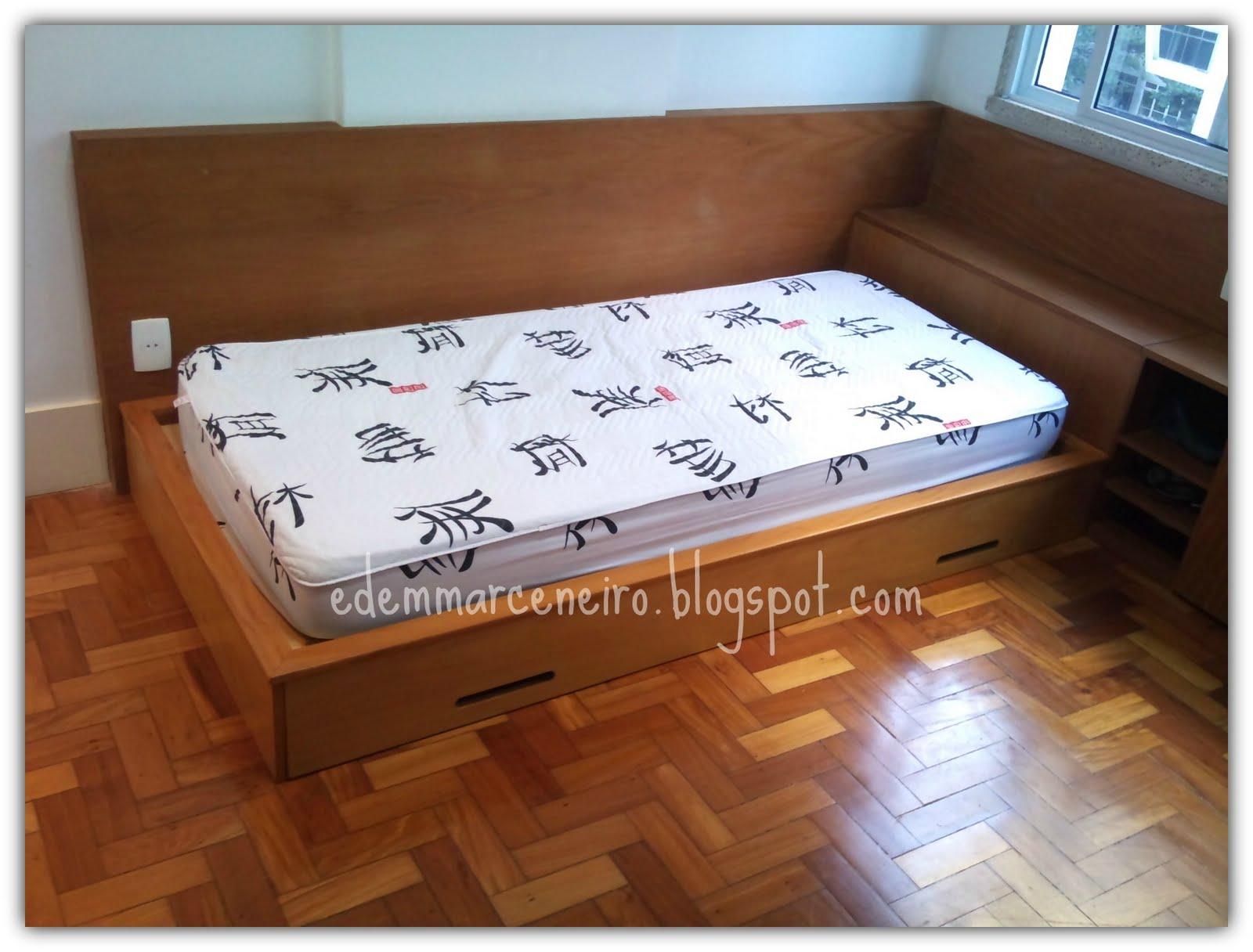 Cama de solteiro japonesa em madeira peroba mica edem for Cama tipo japonesa