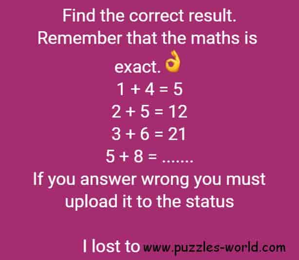 Find The Correct Result Whatsapp Status Puzzle Puzzles World