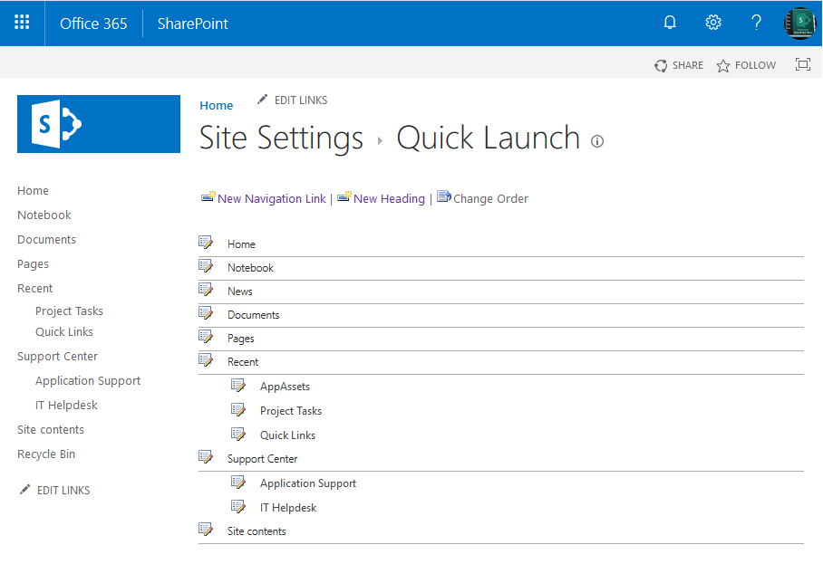 powershell to add link to quick launch navigation in sharepoint online