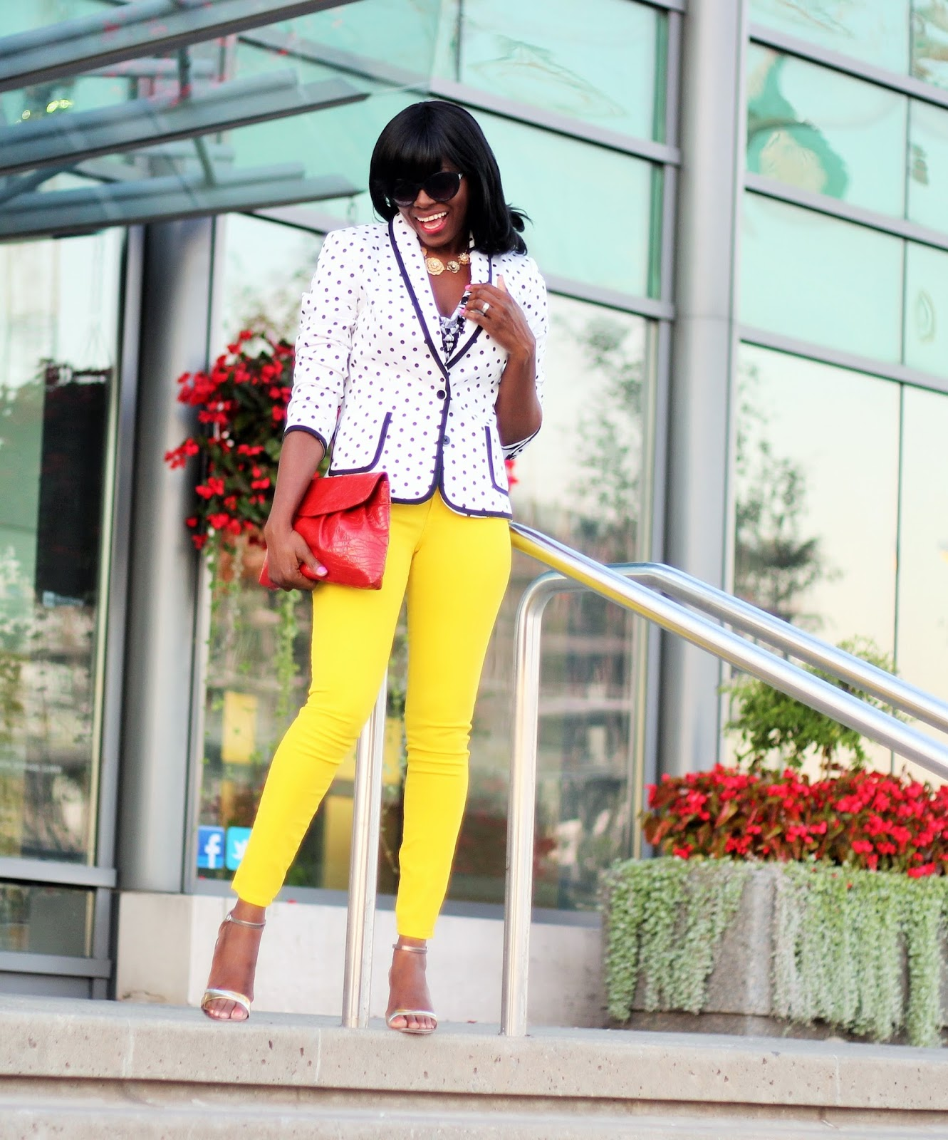A weekend look styled with a polka dot blazer by Express