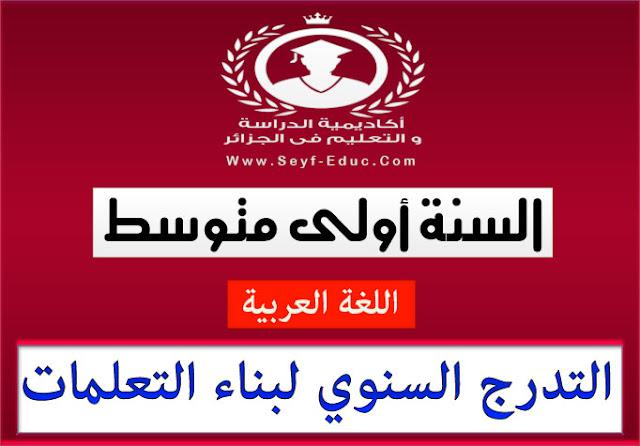 التدرج السنوي لبناء التعلمات للسنة الاولى متوسط لغة عربية