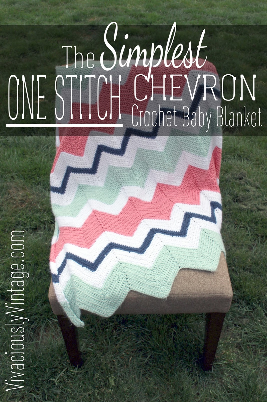 Ansley Designs Easy Beginner Chevron Crochet Baby Blanket Only One