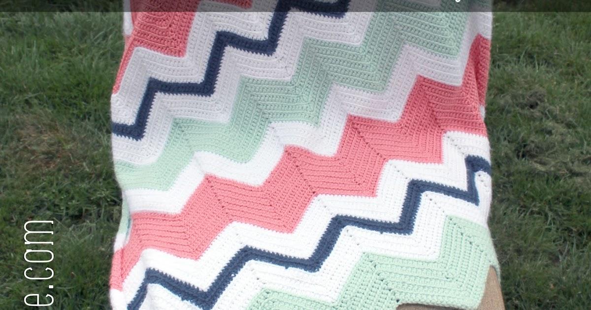 Ansley Designs Easy Beginner Chevron Crochet Baby Blanket