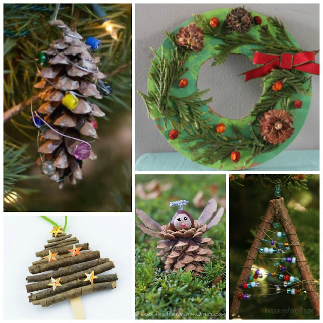 Christmas Nature Crafts For Kids- beautiful arts and crafts choices for preschoolers, kindergartners, and elementary children featuring twigs, leaves, pine cones, shells, and other natural materials.