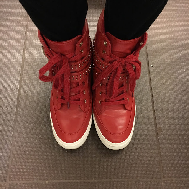 JustFab, JustFab Red Studded Wedge Sneakers, #TuesdayShoesday, shoes, sneakers