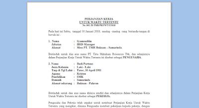 Contoh KONTRAK KERJA Karyawan Terbaru file Word (DOC) dan PDF