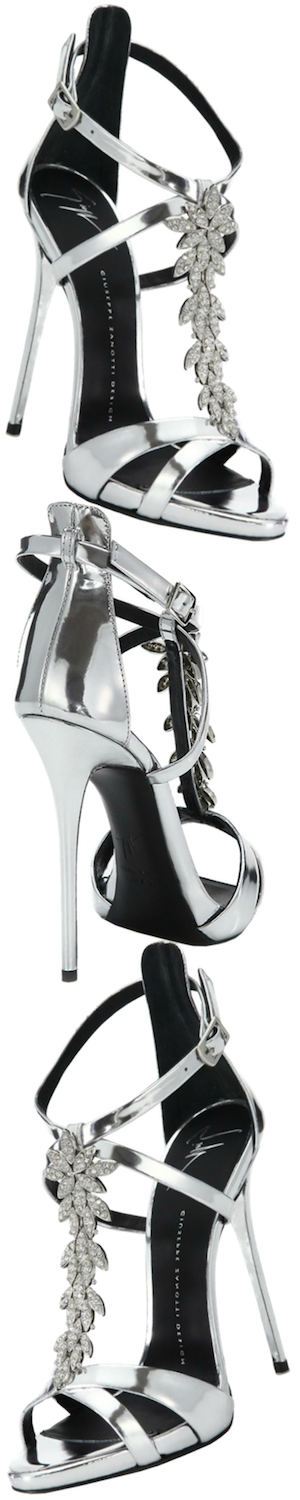 Giuseppe Zanotti Crystal-Leaf Metallic Leather Sandals