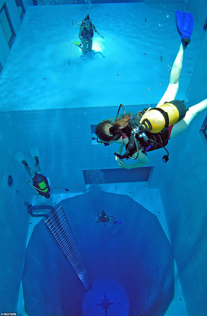 It will be the deepest pool in the world, but just how tall is 148 feet?