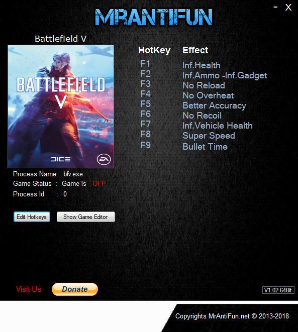 Battlefield 5 PC Trainer +10 v22946 {MrAntiFun} Munição Infinita