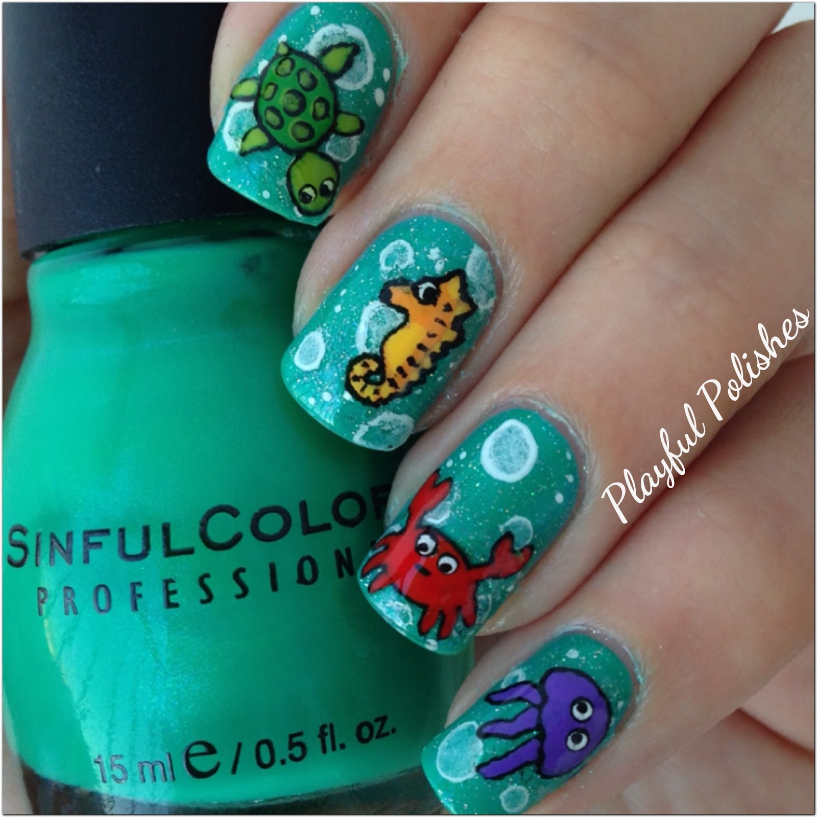 Playful Polishes: JUNE NAIL ART CHALLENGE: SEA CRITTERS