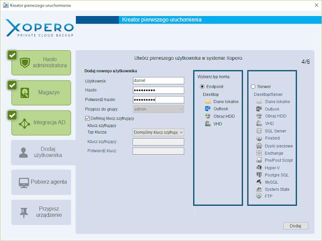 Wybór konta w kontekście którego ma pracować oprogramowanie Xopero