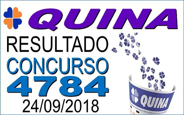 Resultado da Quina concurso 4784 de 24/09/2018 (Imagem: Informe Notícias)
