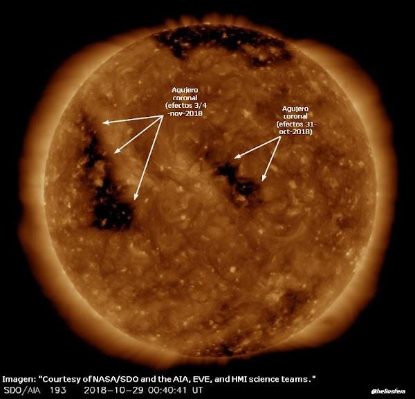 ALERTAS: 2 agujeros coronales provocaran viento solar en la tierra.