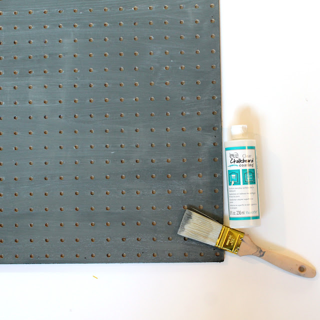 Use @decoart Chalkboard Coating to make this Chalkboard Pegboard Kitchen Organizer. Tutorial by @punkprojects