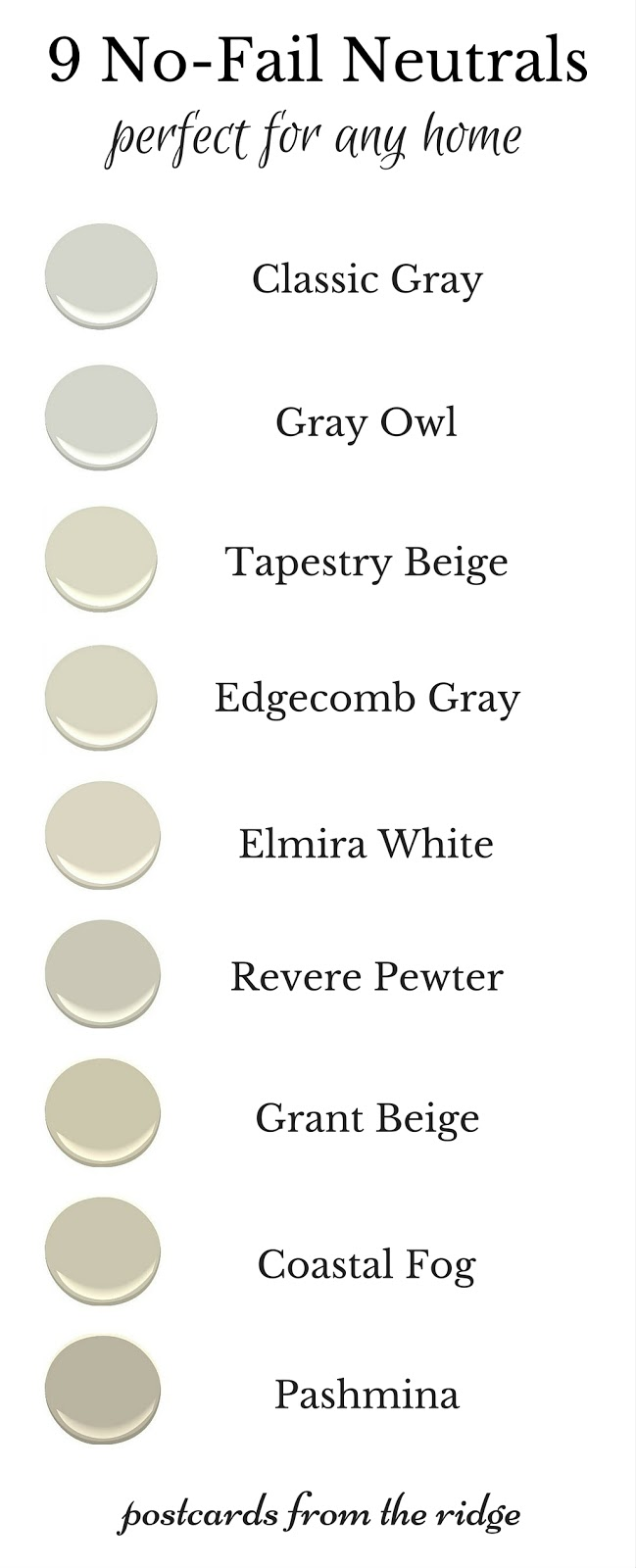 These are the best neutral paint colors  Lots of great photos of each one 9 No Fail Neutral Paint Colors   Postcards from the Ridge. Great Neutral Paint Colors Benjamin Moore. Home Design Ideas