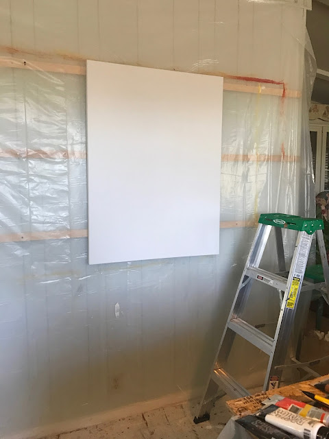 Painting wall with blank canvas