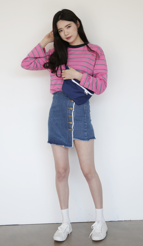 Raw-Edged Buttoned Front Skirt