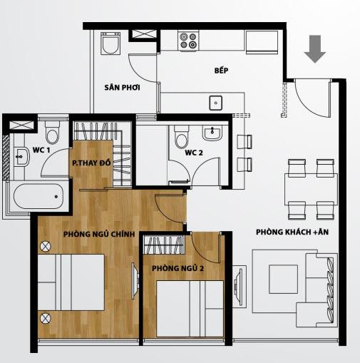 Căn hộ A2 2 phòng ngủ The Ascent