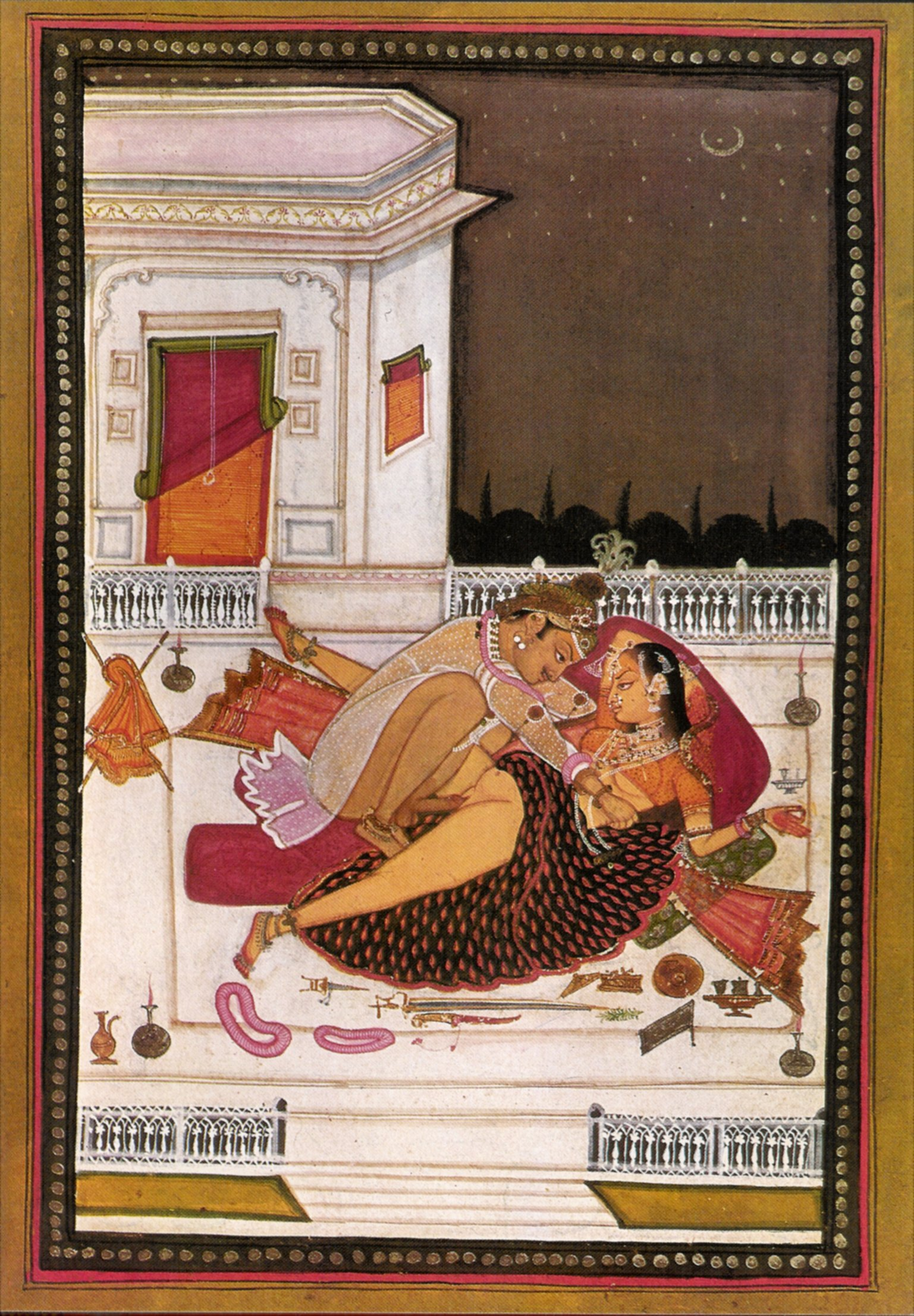 Prince and Lady Making Love on Terrace at Night - Rajput Miniature Painting  c1790