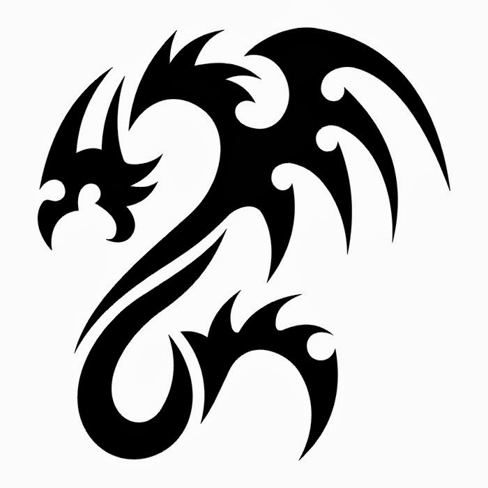 Dragon tribal tattoo stencil