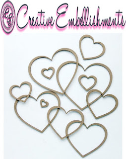 creative embellishments chipboard hearts