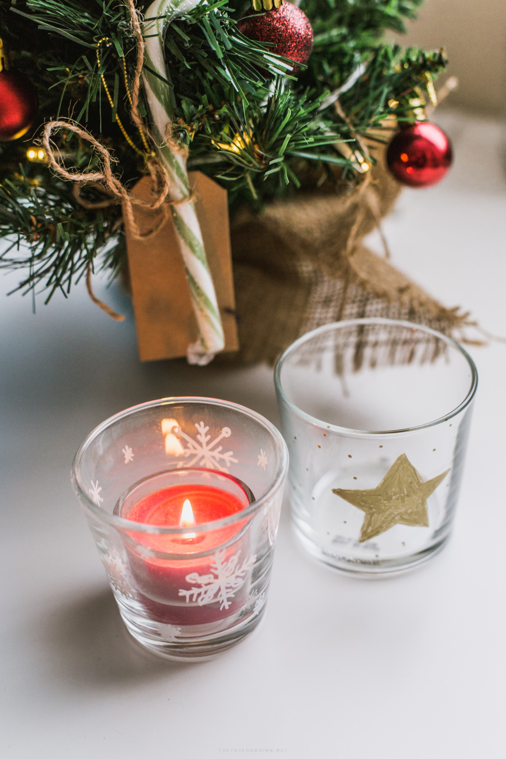 DIY Decorated glasses with Sharpie pens for Christmas.