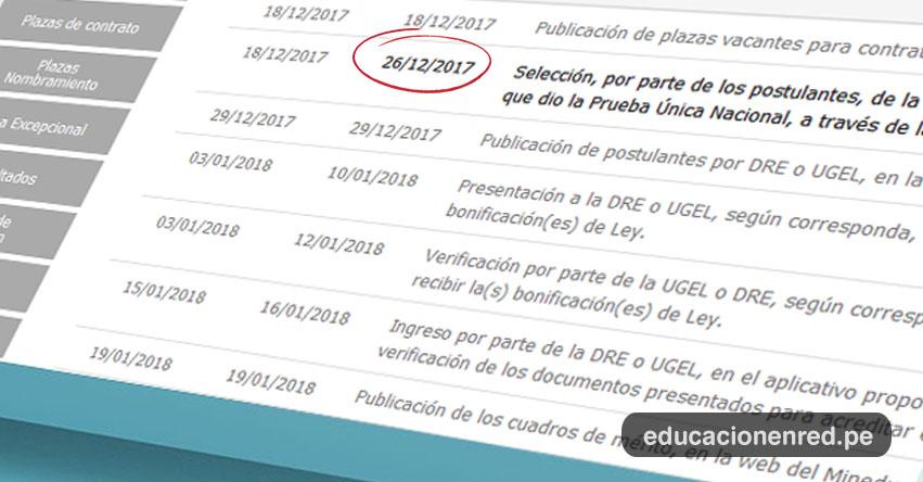 MINEDU: Último día Inscripción Contrato Docente (26 Diciembre) NO llevar formato de selección de plazas vacantes al Banco de la Nación - www.minedu.gob.pe