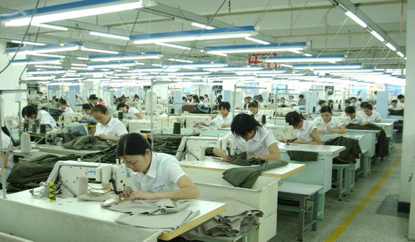 Woven shirt machine layout in apparel industry