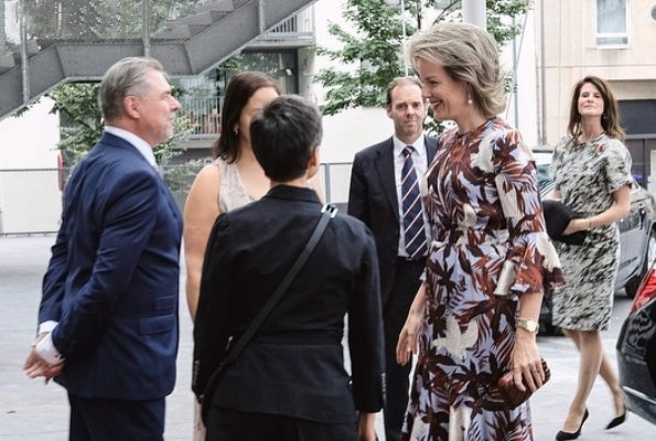"Queen Mathilde wore ERDEM Florence Dress Agar Bird. Antwerp Royal Ballet School and watched ""Bolero"" ballet performance"
