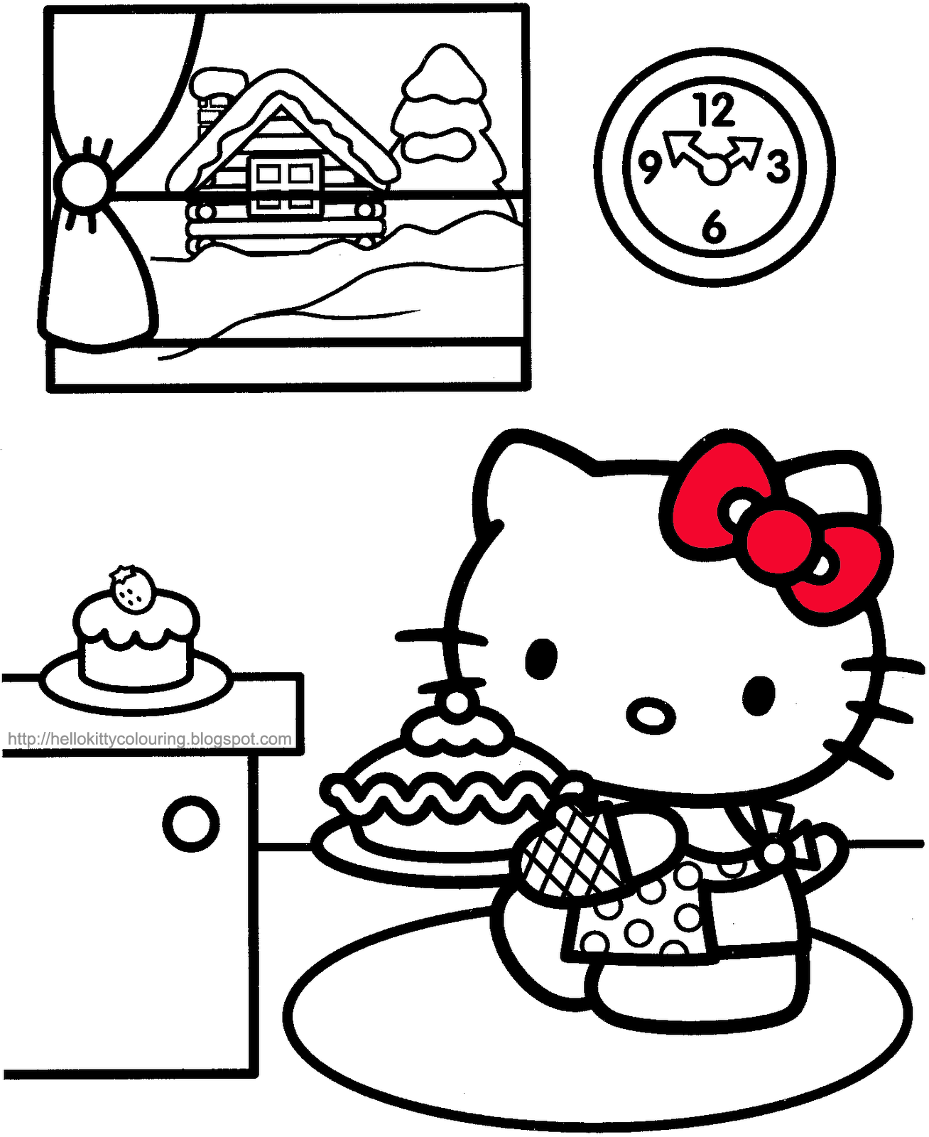 I think hello kitty cooked a tasty cake for her birthday! Hello Kitty Coloring Hello Kitty Colouring In Pictures