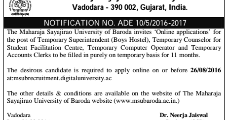 MSU Baroda Recruitment for Superintendent,Counsellor
