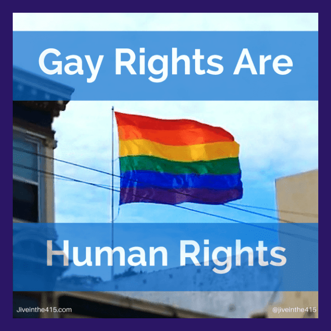 "The text ""gay rights are human rights"" is super-imposed on a photograph of the LGBT rainbow flag that flies above the Castro district in San Francisco, California."