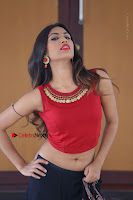 Telugu Actress Nishi Ganda Stills in Red Blouse and Black Skirt at Tik Tak Telugu Movie Audio Launch .COM 0361.JPG
