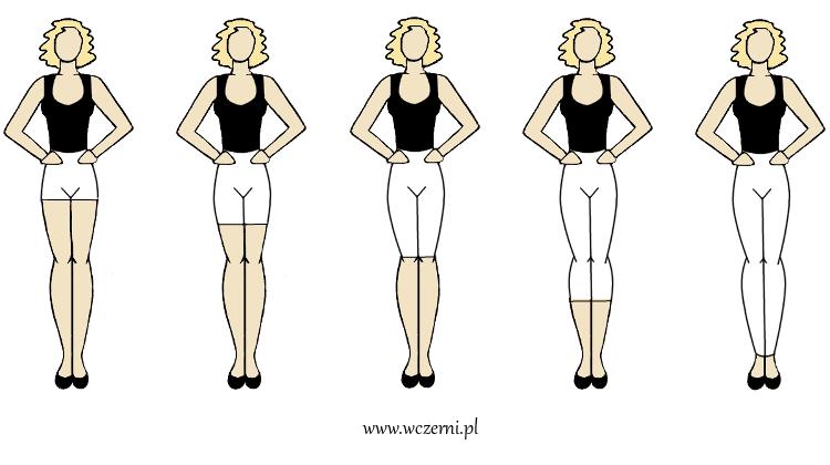 szerokie ramiona można optycznie zwęzić poszerzając biodra poprzez odpowiednią długość spodni