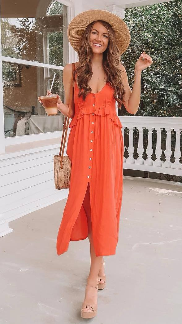 great outfit idea to try right now / red dress + round bag + hat + beige sandals