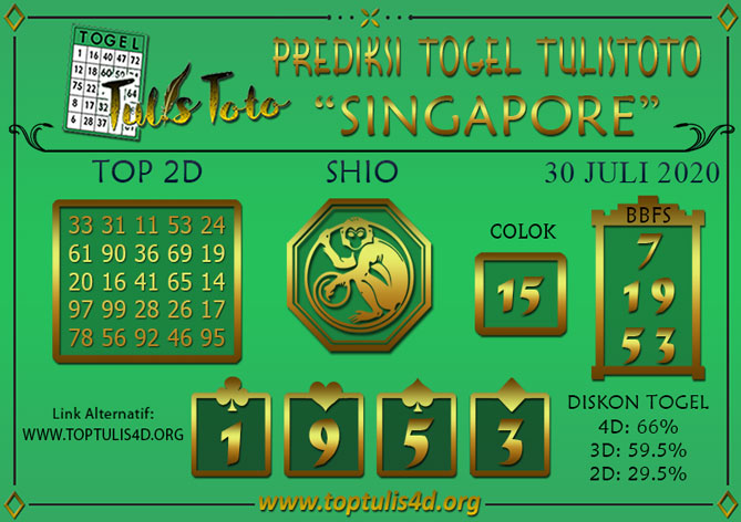 Prediksi Togel SINGAPORE TULISTOTO 30 JULI 2020