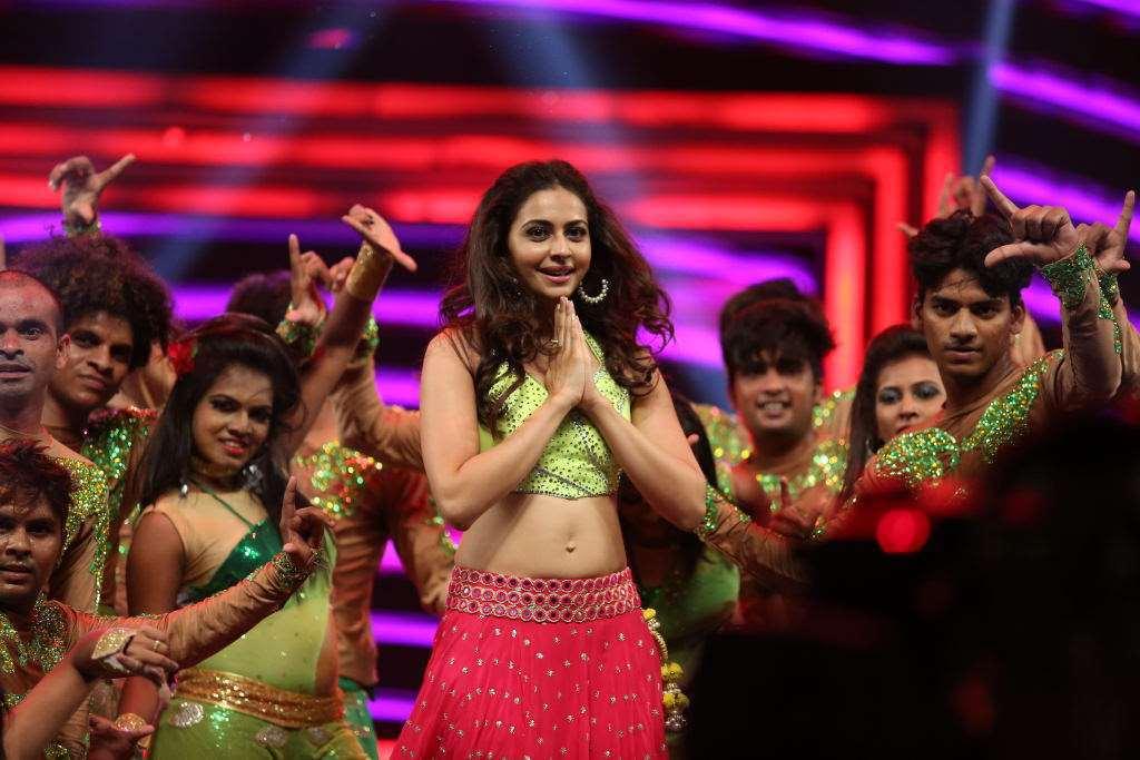 Rakul Preet Singh Dance Navel Stills In Pink Lehenga
