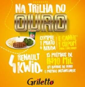 Cadastrar Promoção Griletto Na Trilha do Ouro Carros Dez Mil Reais Prêmios Instantâneos
