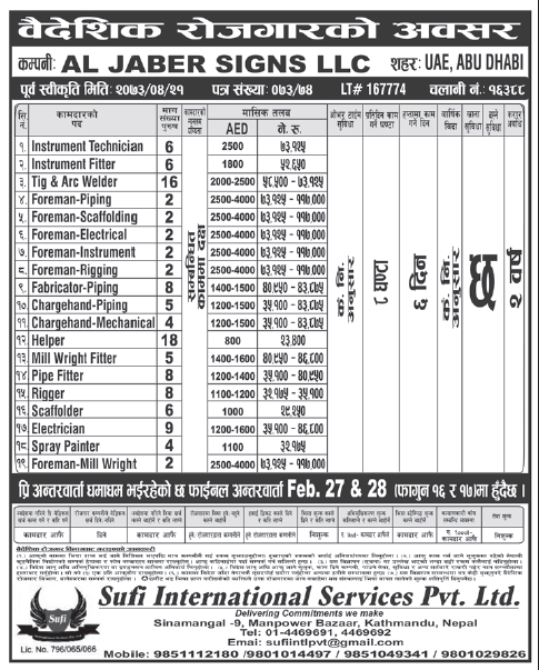 Jobs in Abu Dhabi for Nepali, Salary Rs 1,17,000